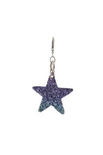 Llavero de tela con forma de estrella con glitter. -