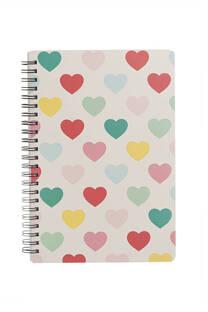 Cuaderno tapa dura multicolor anillado con 80 hojas rayadas. -