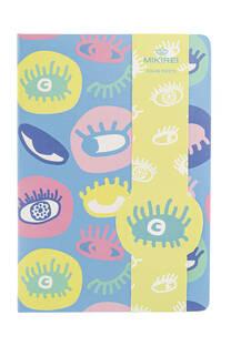 Cuaderno A5 tapa dura con diseño de ojos y 96 hojas rayadas. -