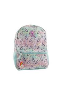 Mochila escolar de tela con estampado de unicornios. Posee bolsillo frontal con cierre y laterales.  Medidas: 40 cm x 30 -