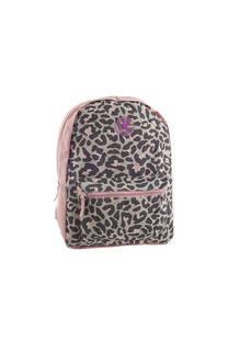 Mochila escolar de tela con estampado de leopardo. Posee bolsillo frontal y laterales.  Medidas: 40 cm x 30 cm -
