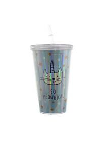 """Vaso con diseño de gatito, estrellas y descripción """"So meowgical""""  Medida: 15 cm -"""