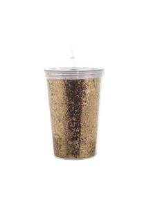 Vaso con glitter.  Medida: 12 cm