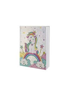 Cuaderno holograma unicornio.  Medidas: 20 cm x 15 cm
