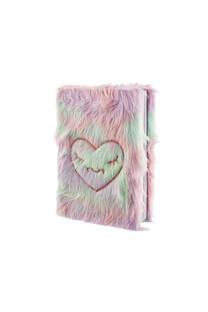 Cuaderno peluche multicolor con dibujo de corazón.  Medidas: 20 cm x 15 cm