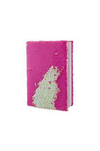 Cuaderno bicolor con lentejuelas reversibles.  Medidas: 20 cm x 15 cm