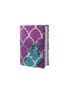 Cuaderno escamas con lentejuelas reversibles.  Medidas: 20 cm x 15 cm