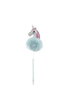 Lapicera con pompón de unicornio hologramal. Tinta azul. -