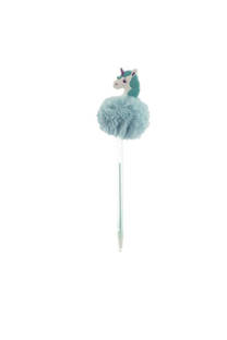 Lapicera con pompón de unicornio de goma. Tinta azul. -