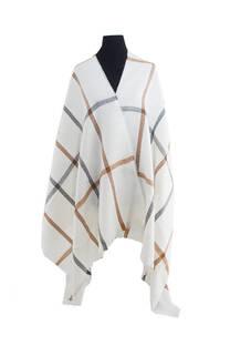 Mantón clásico estampado de lana frizado desflecado color Crudo-gris-suela  Medidas: 75 cm x 185 cm. -