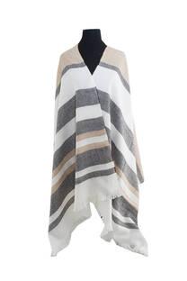 Mantón clásico estampado de lana frizado desflecado color Crudo, gris y beige  Medidas: 75 cm x 185 cm. -
