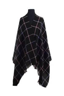 Mantón clásico estampado de lana frizado desflecado color Negro, rosa y lila  Medidas: 75 cm x 185 cm. -