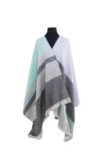 Mantón clásico estampado de lana frizado desflecado color Gris tipo-gris melange -lila -tiffany  Medidas: 75 cm x 185 cm. -
