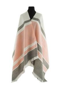 Mantón clásico estampado de lana frizado desflecado color Crudo-coral -gris  Medidas: 75 cm x 185 cm. -