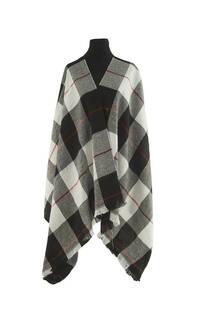 Mantón clásico estampado de lana frizado desflecado color Negro-blanco-rojo  Medidas: 75 cm x 185 cm. -