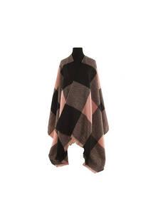 Mantón clásico estampado de lana frizado desflecado color Negro-rosa  Medidas: 75 cm x 185 cm. -
