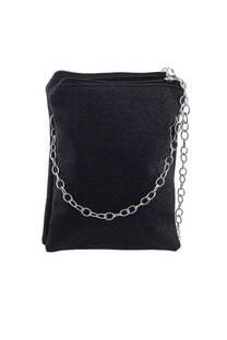 Bandolera doble de glitter con cadena.  Medidas: 20 cm x 15 cm -