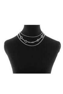 Collar triple cadena con múltiples dijes  CIRCULO -