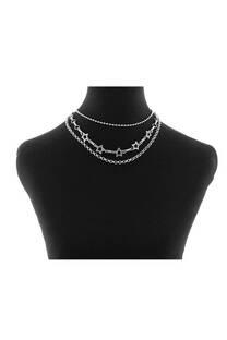 Collar triple cadena con múltiples dijes ESTRELLA -