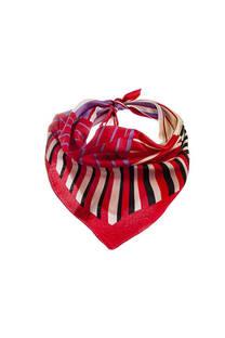 Pañuelo dama de seda cuadrado con estampado a rayas.  Medidas: 50 cm x 50 cm