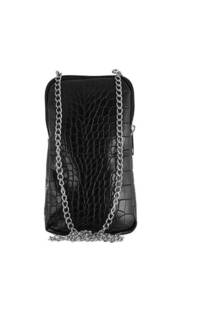 Phonebag croco de cuero ecológico con tira cadena -