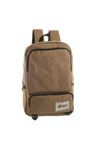 Mochila escolar reforzada de poliéster con bolsillo interno porta notebook, laterales, dos frontales y tiras regulables.  Medidas: 40 cm x 25 cm. -