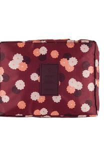 Neceser multi pouch espacioso con separador, doble bolsillo de red y doble cierre. Medidas: 25 cm x 20 cm Diseño-Bordó flores -