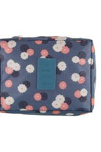 Neceser multi pouch espacioso con separador, doble bolsillo de red y doble cierre. Medidas: 25 cm x 20 cm Diseño-Gris flores -