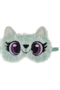 Antifaz para dormir de peluche con forma de gatito y elástico en la parte de atrás. Adecuado para todos los tamaños de cabeza. -