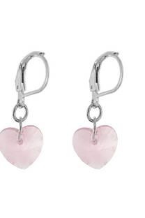 Aro acero blanco con dije de corazón chico rosa -