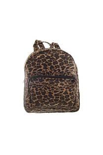 Mochila grande de cuero ecológico con diseño animal print, bolsillo frontal y tiras regulables.  Medidas: 30 cm x 35 cm. -