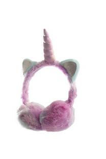 Orejera de simil piel con diseño de unicornio. -
