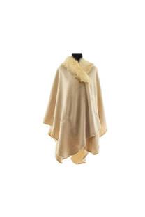 Capa de lana con cuello de piel. Calidad Premium.  Medidas: 125 cm x 75 cm / Peso:720 gramos. -