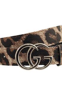 Cinto de cuero ecológico animal print glitter, hebilla GG y pasador. -