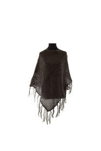Poncho de lana calado con flecos.  Medidas: 50 cm x 60 cm / Peso: 250 gramos -