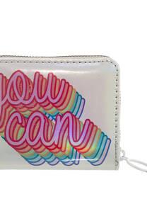 Mini billetera charol tornasolado con estampado