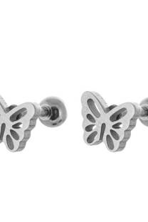 Aro de acero blanco diseño Mariposa -