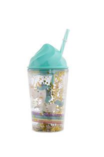 Vaso helado unicornio con lentejuelas 300 ml incluye sorbete. -
