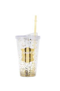 Vaso con lentejuelas 450 ml incluye sorbete -