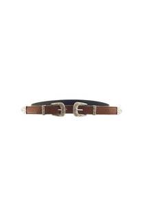 Cinturón Cuero Ecológico con Doble Hebilla y Pasador Plateado Medida: 100 cm Composición: PU -