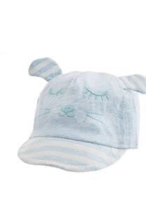 Gorro con visera infantil carita de oso.  Medidas: 46-48 cm -