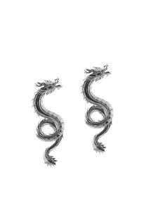 Aro colgante plateado de dragón  Medida: 6 cm -