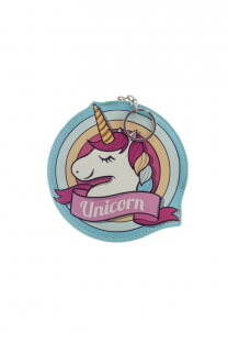 Monedero chico de cuero ecológico con diseño de unicornio.   Medidas: 15 cm de diametro -