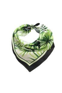 Pañuelo cuadrado de seda con diseño de hojas. BORDE NEGRO  Medidas: 50 cm x 50 cm -