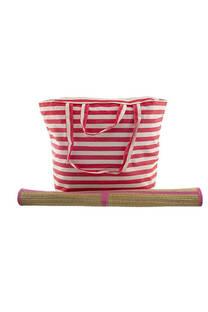 Bolso playero a rayas multicolor con manija de agarre y cierre con lona de arpillera.  Medidas (Bolso): 45 cm x 30 cm  Medidas (Lona): 175 cm x 60 cm -