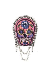 Charretera grande/aplique con diseño de calavera mexicana. El precio es por unidad -