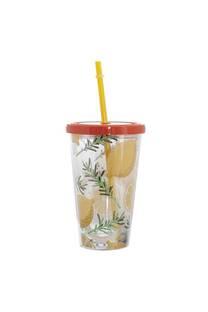 Vaso estampado 450ml diseño limones incluye sorbete. -