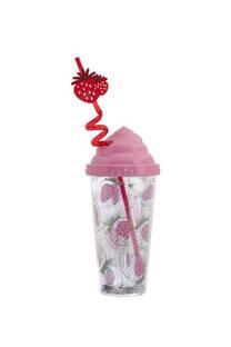 Vaso estampado 380ml diseño frutillas incluye sorbete con forma. -