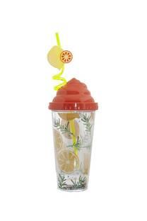 Vaso estampado 380ml diseño limones incluye sorbete con forma -
