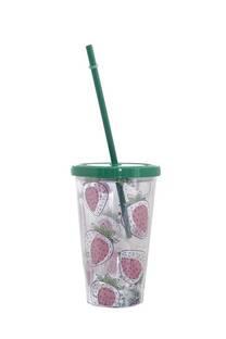 Vaso estampado 450ml diseño frutillas incluye sorbete. -
